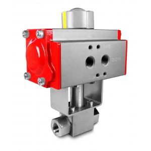 Шаровой кран высокого давления 1/4 дюйма SS304 HB22 с пневматическим приводом AT40