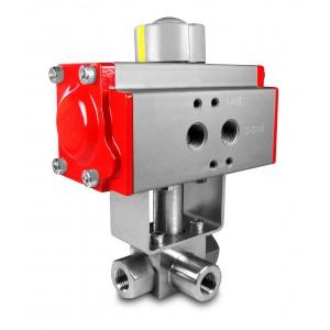 Трехходовой шаровой кран высокого давления 1/2 дюйма SS304 HB23 с пневматическим приводом AT63