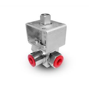 Трехходовой шаровой клапан высокого давления 3/8 дюйма SS304 HB23 монтажная панель ISO5211